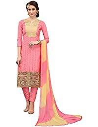 Women'S Peach Semi Stitched Embroidered Cotton Dress Material MSMKWB7011