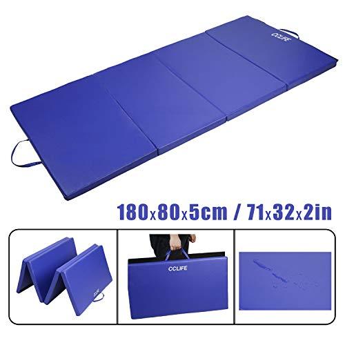 CCLIFE 180x80x5 Blau Weichbodenmatte Turnmatte Klappbar Gymnastikmatte, Farbe:Blau