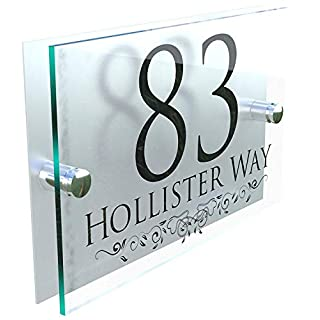 DECORATIVE PERSONALISED WALL PLAQUES DOOR NUMBERS STREET GLASS EFFECT ACRYLIC ALUMINIUM NAME - Black & Silver