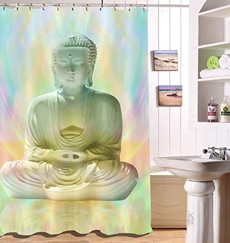 DJSK Baño Cortinas Ducha Tela Impermeable Buda Meditación