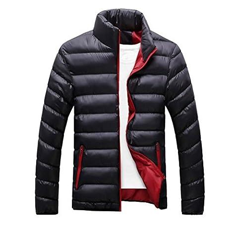 FEITONG Hommes Parka Hiver Epais Manteau Duvet de Canard Doudoune Outwear (L, Noir)