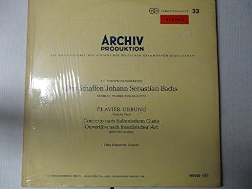 BACH, Johann Sebastian: Clavier-Ubung, 2° Teil: Concerto Italiano, Franzosische Overture ---Kirkpatrick R. (clav)-ARCHIV - Germania-ARV 198032-BACH Johann Sebastian-KIRKPATRICK Ralph (clavicembalo - clavicordo)