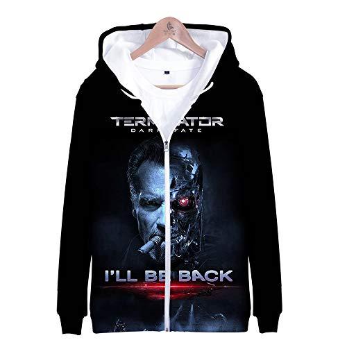 Mädchen Terminator Kostüm - RJHWY 3D Hoodie Sweatshirt Unisex Pullover Kapuzenjacke Kleidung Mantel Reißverschluss Anime Top Terminator Dark Fate M