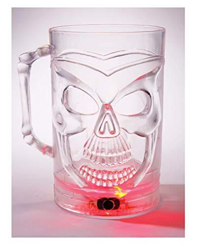 Preisvergleich Produktbild Horror-Shop Skull Bierkrug 0, 5l mit LED Farbwechsler für Halloween