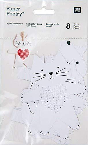Motiv Stickkarton 8 Stück jeweils 2 x Hund/Katze/Schnecke/Pferd