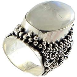 Shadi - Anillo de plata de ley con piedra de Luna étnico (joyería de plata artesanal - regalo - mujer - hombre - Navidad - Reyes - cumpleaños)