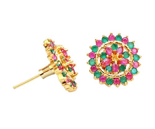 Sanara Fancy Multi Crystal made Stud earring For girl's party wear jewellery