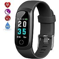 HETP Fitness Tracker, Heart Rate Activity Tracker Fitness Wristband Smart Watch Waterproof IP67 Blood Pressure Smart Bracelet with Stopwatch Sport GPS Sleep Monitor Pedometer Calorie Women Men