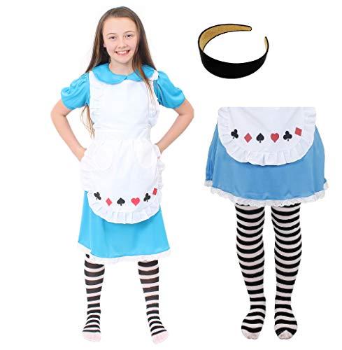 ILOVEFANCYDRESS Alice Kinder Wunderland KOSTÜME Verkleidung+WEIßEN SCHÜRZE=Herz-Pick-Karo-Kreuz =mit+Ohne ZUBEHÖR=4 GRÖßEN=Small +Haarreif -mit Strumpfhose