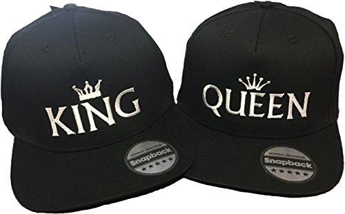 *Snapback bestickt mit Motiv Krone | KING & QUEEN | in weißer Schrift Stickerei Partner-Cap für Sie & Ihn (KING & QUEEN)*