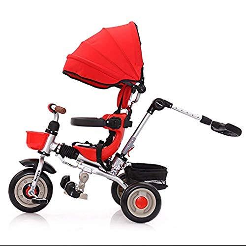 Moolo Tricycle pour Enfants, pédale à baldaquin Pliable légère pour Enfants Trikes avec Capuchon détachable à poignée Parent tournant Entre 1 et 6 Ans