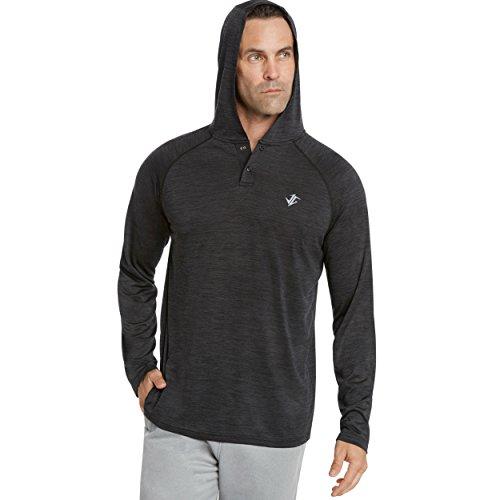 Jolt Gear Herren Kapuzenpullover - langärmlig Casual Hoodie für Herren - Leichter dünner Kapuzenpullover T-Shirt, Herren, Graphitgrau/schwarz, 3X-Large - Knit Black Slate
