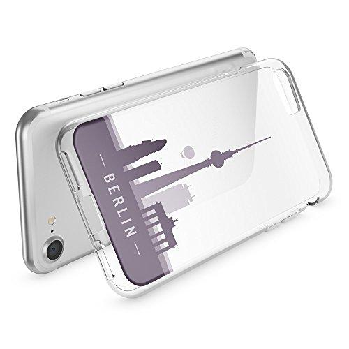 iPhone 8 / 7 Hülle Handyhülle von NICA, Slim Silikon Motiv Case Crystal Schutz Dünn Durchsichtig, Etui Handy-Tasche Back-Cover Transparent Bumper für Apple iPhone 7 / 8 - Transparent Berlin Skyline