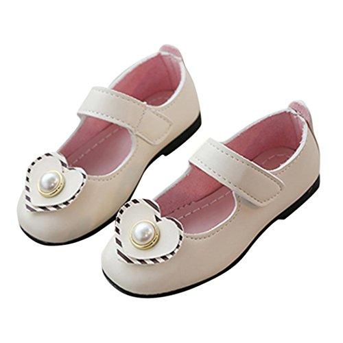 sunshineBoby Baby Mädchen Sneaker Hallenschuhe Freizeit Sandalen Kinder Baby Mädchen Feste Liebes Perlen Leder Prinzessin Single Casual Schuhe (Weiß,21) (Baumwoll Print Knit Pants)