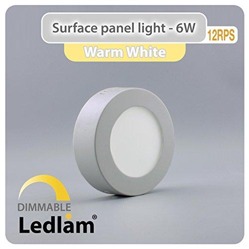 Lot de 10packs de LED 6W rond 12cm Montage en saillie–Blanc chaud–Argent–Intensité variable avec variateur LED Ledlam