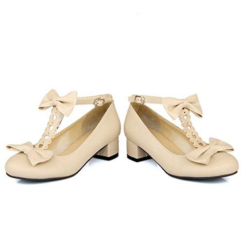 TAOFFEN Femme Confortable Courroie en T Talon Bas Chaussures Basse Bride Boucle Chaussures Avec Bow Beige