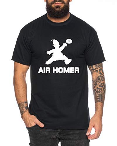Air Homer Herren T-Shirt Cooles lustiges Fun Shirt, Farbe:Schwarz, Größe:XL -