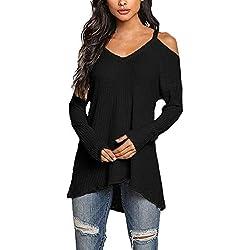 ❤️ Camiseta de Manga Larga de Hombro frío para Mujer Blusas con Cuello en V Casual Blusa Absolute