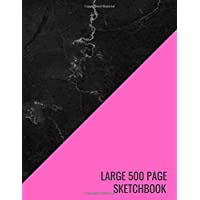 Large 500 Page Sketchbook: Pink Black Marble Sketchpad for Kids Sketching, Drawing, Creative Doodling to Draw and Journal