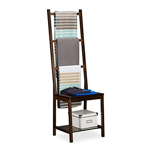 Relaxdays Holder, Clothes Stand, Towel Rack, Valet Butler, Bathroom Chair Hxwxd: Ca 133 x 40 x 42 cm, Dark, Bamboo, Brown, 40 x 42 x 133 cm