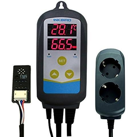 Inkbird IHC-230 220V Doble Relé Digital Termostato y Humidistato, 2 Enchufes Europeos, Control de Temperatura y Humedad, con Múltiples Funciones