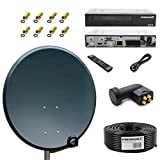 PremiumX PXS60 Stahl Sat Antenne 60cm Anthrazit Receiver HD510 FTA Digital Quad LNB PXQS-SE 50m Koaxial Kabel SCHWARZ 130 dB
