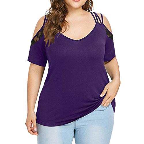 VJGOAL Damen T Shirt, Frauen Elegant Einfach Große Größen Kurze Ärmel Sommer Mode Volltonfarbe Spitze Schulterfreie Schulter V-Ausschnitt ()