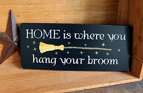 C-US-lmf379581 Witch Wood Sign Home is Where You Hang Your Broom Plaque Funny Halloween Wall Sign Wall Decor