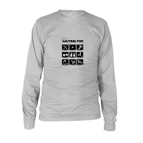 iting for - Herren Langarm T-Shirt, Größe: XXL, Farbe: Weiß (Totoro Kostüm Ideen)