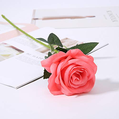 Jun7L 10 Stücke Künstliche Rosen Silk Blumen Gefälschte Flowers Braut Hochzeit Bouquet Für Hausgarten Geburtstag Party Home Wedding Dekor- Dunkelpink 50x9cm - Lila Bouquet Flower Silk