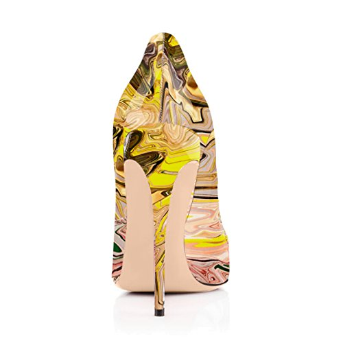 Onlymaker Damenschuhe High Heels Spitze Toe Pumps mit Animal Print Wildleder Leopard mehrfarbig-10.05cm