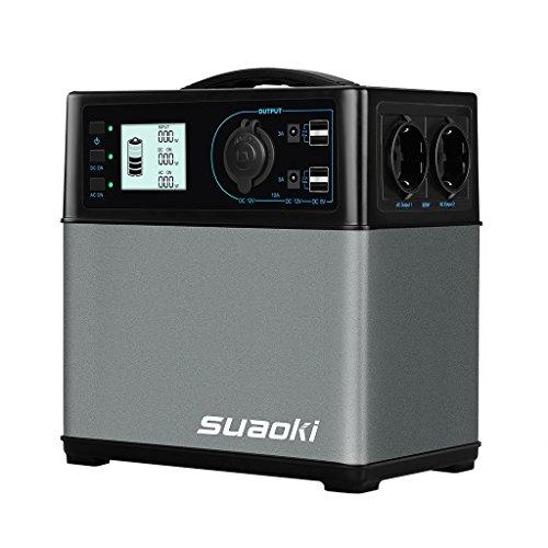 Suaoki 400Wh Mobiler Energiespeicher, Solar Generator/ AC Steckdose/ Autos, 4 USB-Ports/ 2 AC & DC Inverter/ 1 Zigarettenanzünder- Buchse