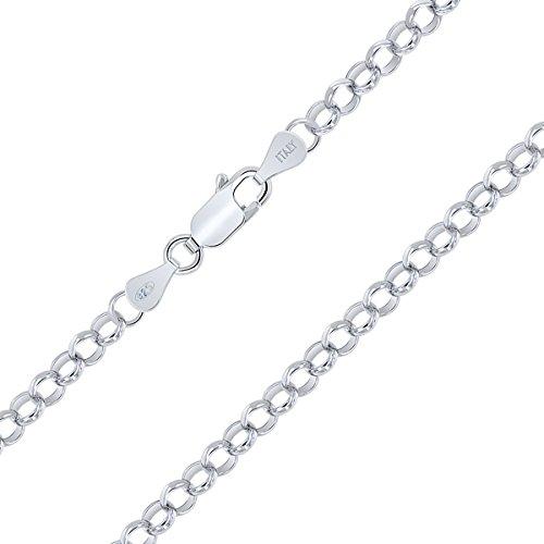Planetys Leicht Erbskette - RoloKette 925 Sterling Silber Rhodiniert Kette - Halskette - 4 mm Breite Längen: 70 cm