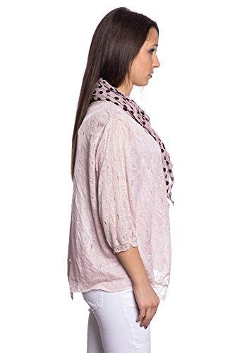 Abbino 5299 Chemisiers Blouses Tops Femmes Filles - Fabriqué en Italie - 5 Couleurs - Transition Printemps Été Automne Plaine Chemises Fashion Elegante Vintage Classique Casual Sexy Rose