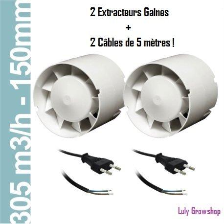 Pack de 2 Extracteurs de Gaines 305 M3/H + 2 Câbles de 5 mètres