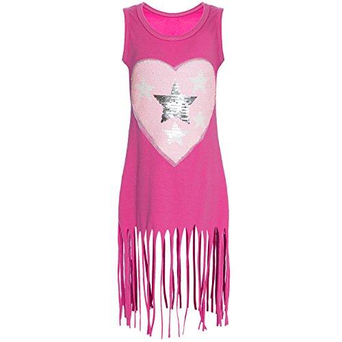 BEZLIT Kinder Mädchen Wendepailletten Long Kleid Sweat Shirt 21270, Farbe:Pink;Größe:164 (Bis Kleider)