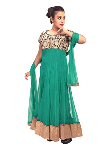 Sharmili Green Latest Designer Anarkali Embroidered Net Salwar suit for women, Matching Churidar & Dupatta, ( stitched ),L / XL size,Round NeckDaily wear / Party Wear By Zenith Garments  available at amazon for Rs.1795
