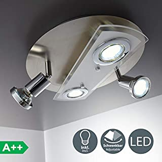 B.K.Licht LED swivelling Ceiling Light incl. 4 x 3W bulbs I LED Spotlight I Interior Light I Living Room Lamp I Ceiling Spot I LED Kitchen Light I Dining Room I Bedroom I 4 x 250lm I 230V GU10 IP20