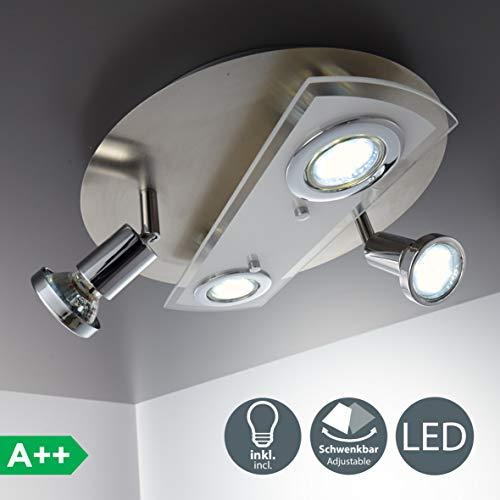 LED Deckenleuchte I Deckenlampe inkl. 4x 3W Leuchtmittel I GU10 I schwenkbar I 4 flammig rund I matt-nickel