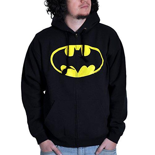 Batman - chaqueta con el logotipo clásico - con capucha y cremallera, cuenta con la licencia oficial, negra - XXL