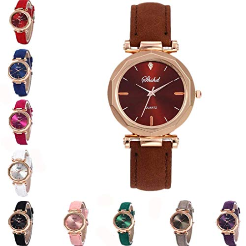 Yvelands Uhren Mode Frauen Leder beiläufige Uhr Analog-Quarz-Kristall-Armbanduhr
