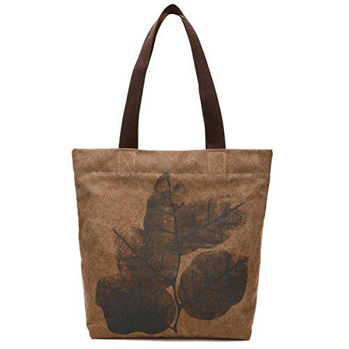 Ladies singola borsa a tracolla,borsa di tela,borsetta-IL Riso Bianco marrone
