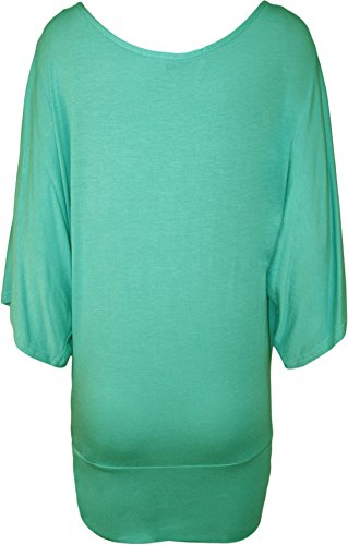 Blusa da donna, con stampa di tigre, con brillantini, taglia 46-64 Verde chiaro
