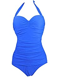 Wantdo Traje de Baño 1 Pieza para Mujer Tirantes Ajustables Monokini Talla Extra