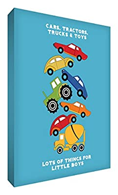 Feel Good Art CARSTACK1624-15 16 x 24-inch A4 Thick Box Canvas Nursery Wall Art Car Stack