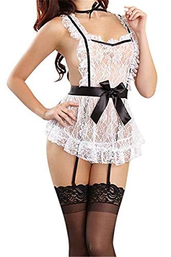 Sereney Damen Spitze Maid Kostüm Babydoll Neckholder Rückenfreies Cosplay Dienstmädchen Nachtkleid Durchsichtig Dienstmädchen Kleid Negligee Nachthemd EU 32-36