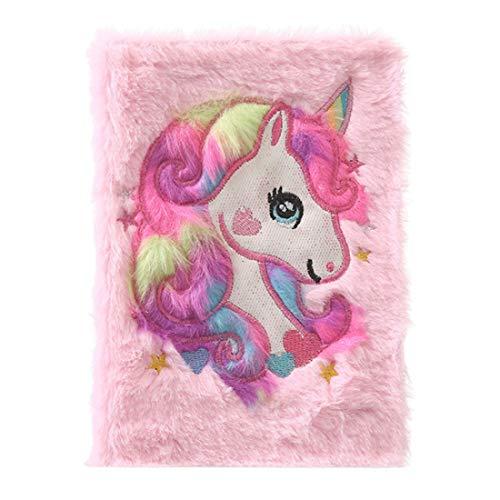 4h6yerf Glamorous Girls Boys Plush A5 - Agenda con diseño de unicornio en 3D, 80 páginas, color rosa claro