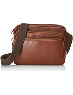 CTM Unisex Umhängetasche Tasche aus echtem Leder hergestellt in Italien - 26x22x9 Cm