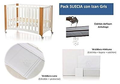 Bolin Bolon Pack Cuna-minicuna colecho SUECIA completa IZAN GRIS