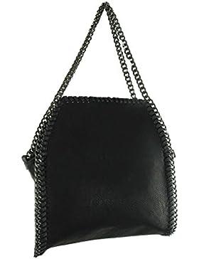 Handtasche Damen klein Lederlook Glitzer Metallic Optik mit Kette